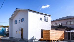 シンプルな白いおうちに三角屋根。童話に出てきそうなおうち。パッシブデザインで、夏涼しく、冬暖かな2階建ての家。