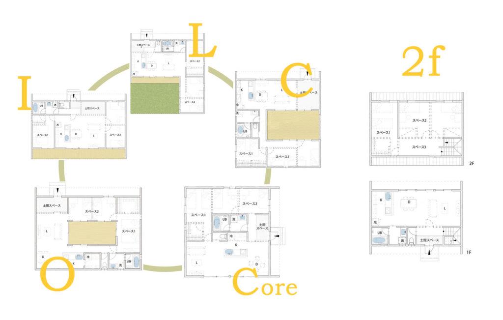 be-plusは、I、L、C、O、Coreの平屋スタイルと2F建てスタイルがあります。
